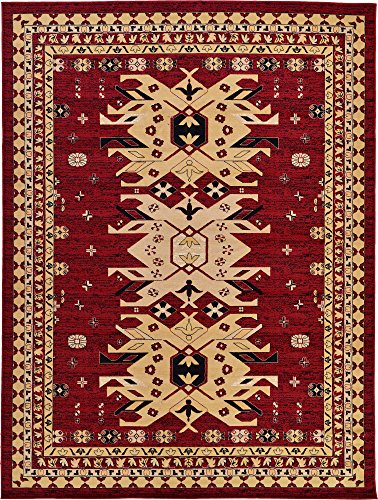 Classic Traditional Geometric Persian Design Area rugs Red 9