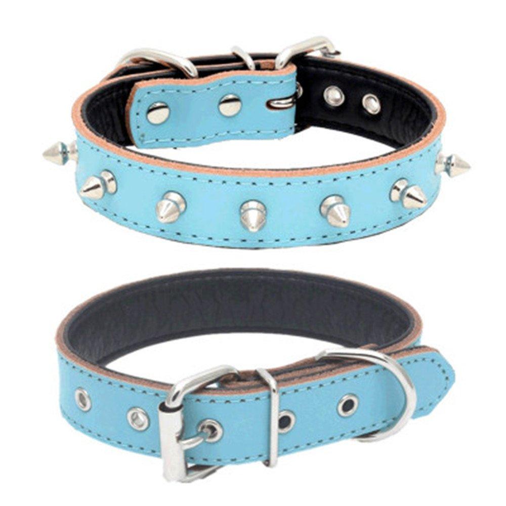 Benala Genuine Leather Padded Dog Collars Spiked Studded Dog Collar for Small Medium Dog Adjustable Pink,M
