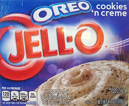 - JELL-O OREO Cookies 'N Creme Instant Pudding and Pie Filling 4.2 oz ,Pack of 4