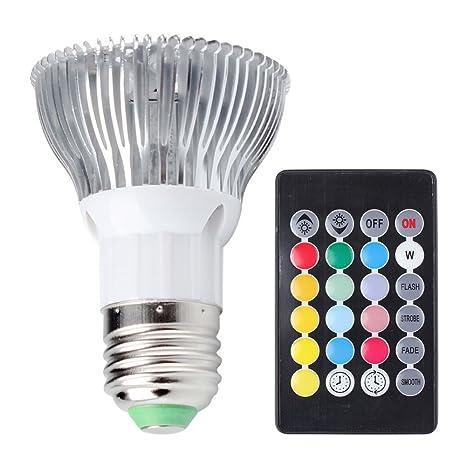 aquiver lámpara de luz E27 RGB Bombilla LED AC85 – 265 V 10 W Foco Luz