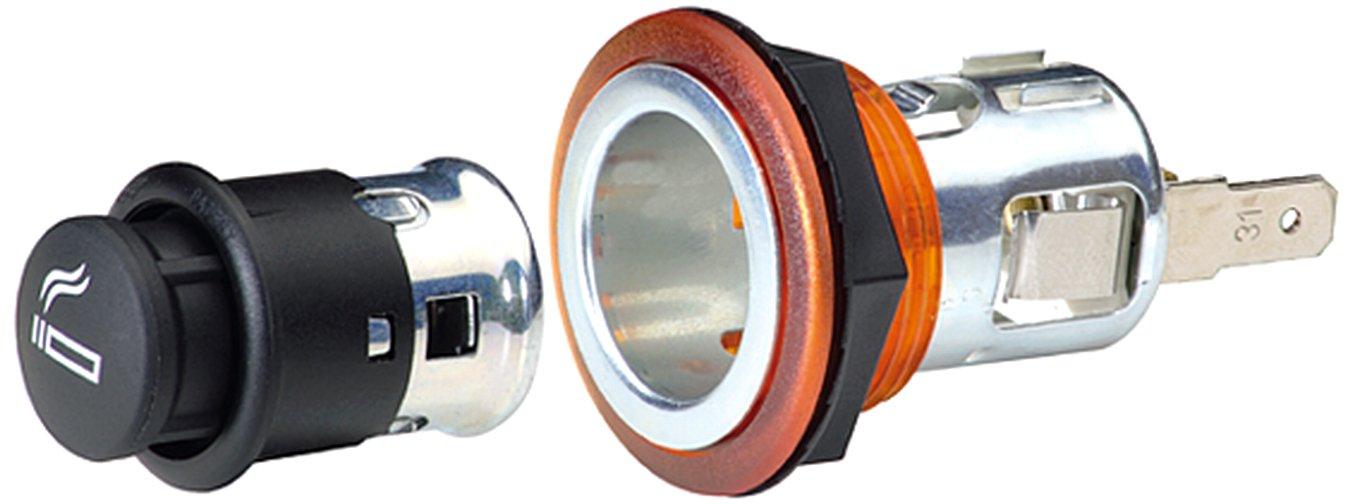 Einbau /Ø 28 mm mittels Sechskantmutter HELLA 8EZ 008 021-041 Universal-Zigarettenanz/ünder Flachsteckeranschluss 12 V