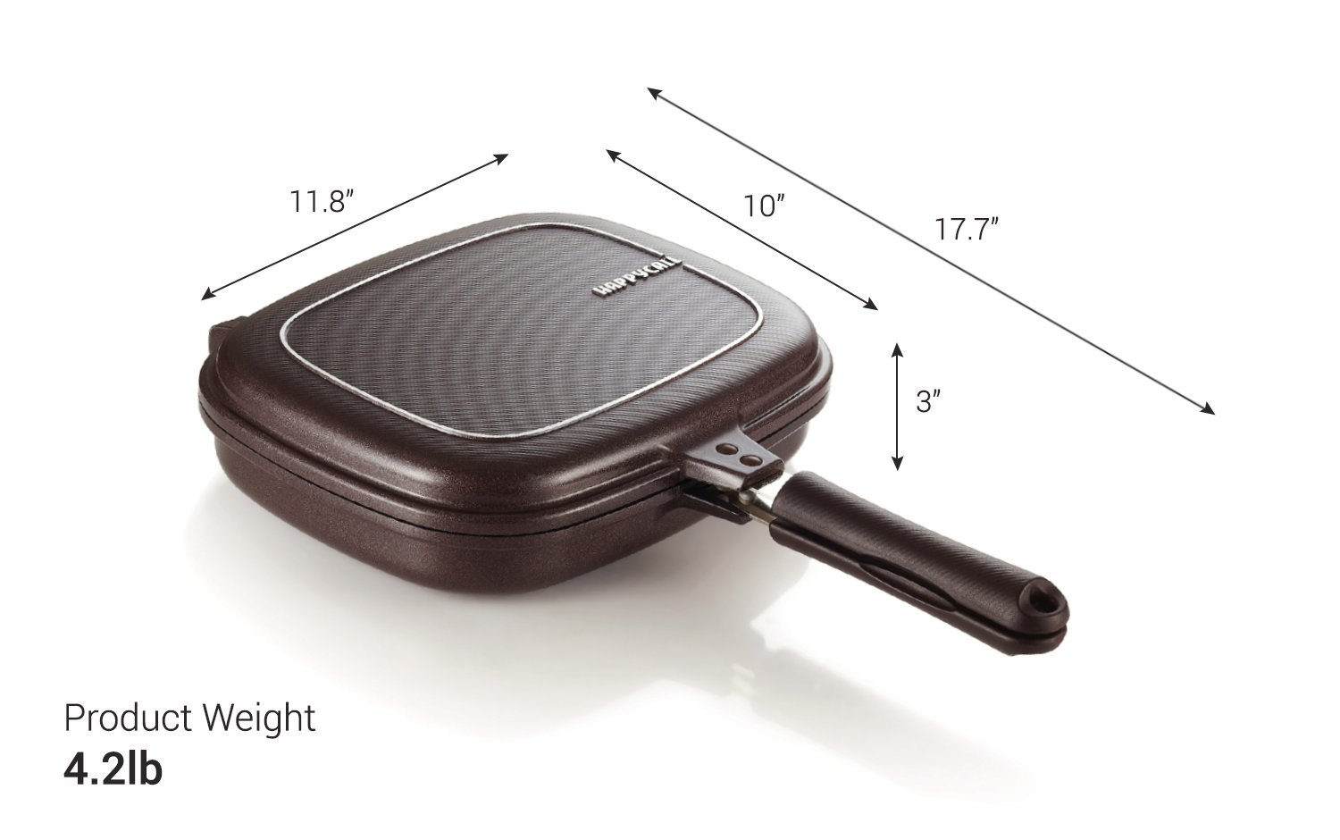 Happycall Titanium Nonstick Double Pan, Omelette Pan, Flip Pan, Square, Dishwasher Safe, PFOA-free, Brown (Jumbo Grill) by Happycall (Image #4)