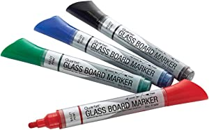 Glass Board Dry Erase Markers by Quartet, Premium, Bullet Tip, Assorted Colors, 4 Pack (79552)