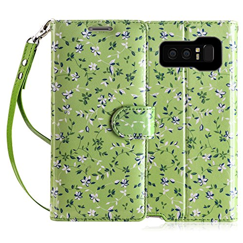 FYY Luxury PU Leather Wallet Case for Galaxy Note 8, [Kickstand Feature] Flip Folio Case Cover with [Card Slots] and [Note Pockets] for Samsung Galaxy Note 8 Grass ()