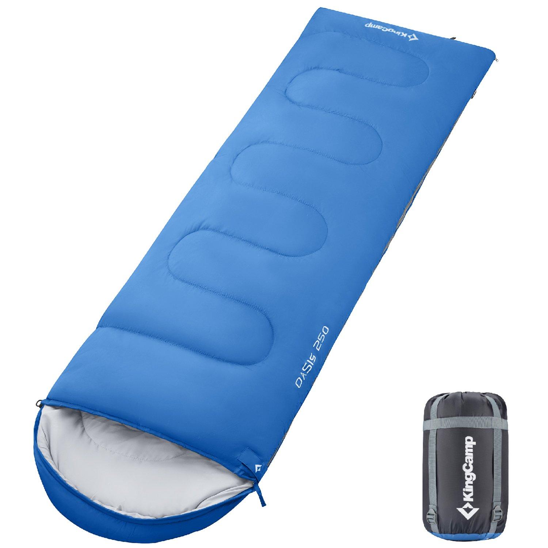 KingCamp封筒SleepingバッグSpliced大人用ポータブル軽量と快適防水with圧縮袋4シーズンのキャンプハイキングアウトドア活動 B071KFD3JJ Left Zipper|ブルー ブルー Left Zipper