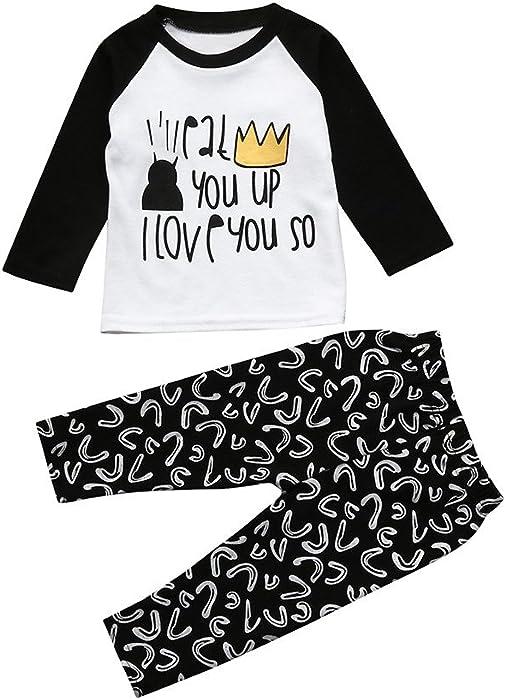 7662a22745e94 VêTements Enfants ADESHOP Mode BéBé GarçOns Filles Lettre Imprimé T-Shirt  Col Rond Manches Longues Hauts Automne Tops + Pantalons Ensemble 2 PièCes  Enfant ...