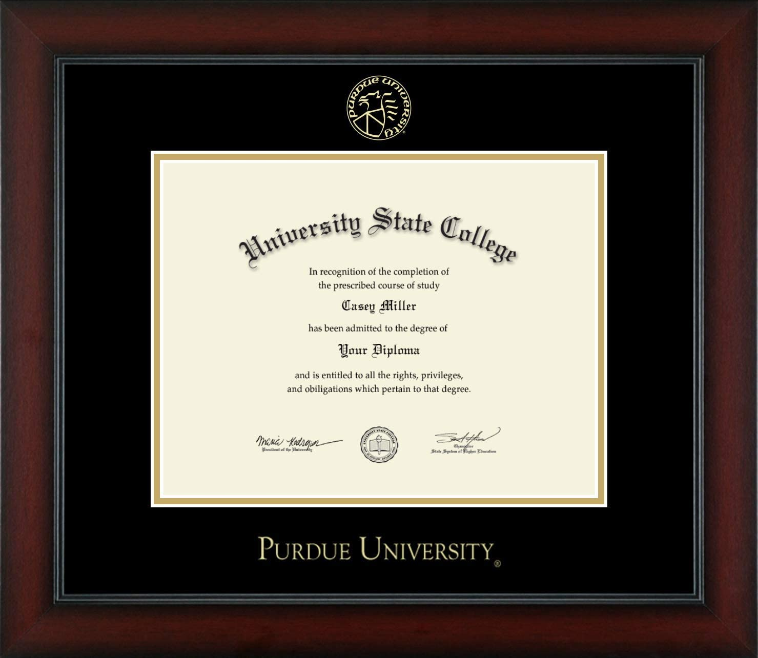 Gold Medallion Tassel Box Laminated Visuals Purdue University Boilermakers Diploma Frame Mahogany