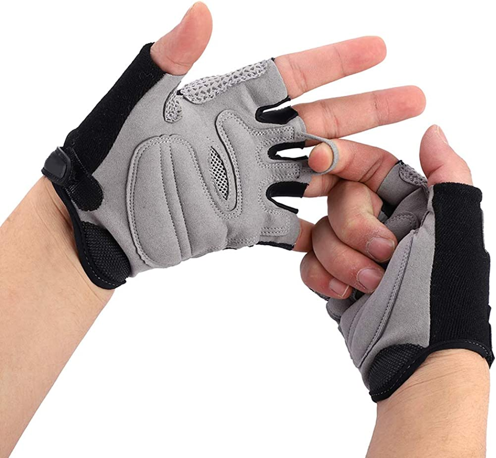 Fsskgx Cycling Gloves Half-Finger Bicycle Wrist with Safety Rear View Mirror Biking Accessories