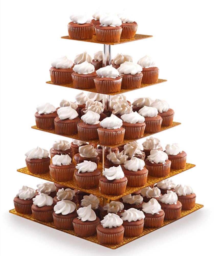BonNoces Acrylic Cupcake Stand - 5 Tiers Cupcake Tower - Tiered Serving Dessert Cake Holder - Unique Golden Exquisite Patterns - Perfect for Wedding, Birthday, Party, Baby Shower and Christmas
