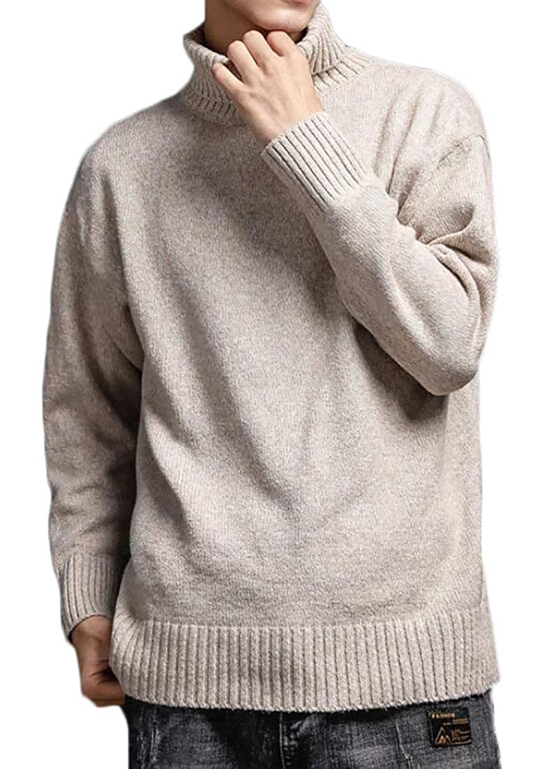 Generic Mens High Neck Knitted Pullover Long-Sleeve Slim Chunky Sweater
