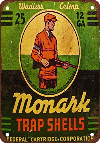 9 x 12 METAL SIGN - Monark Trap Shooting Shells - Vintage Look Reproduction