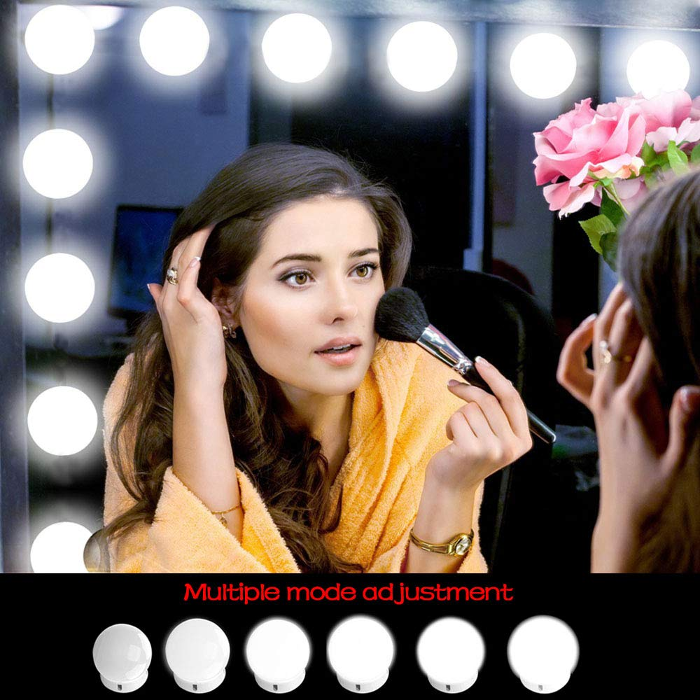 L/ámpara de Espejo Regulable 10 Bombillas LED Kit De Luces Para Maquillaje Cosm/ético SunTop Luces LED Para Espejo Estilo Hollywood Kit De Luces Para Maquillaje Cosm/ético