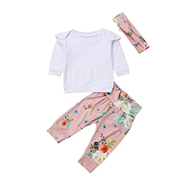 a2b72992a4eff Amazon.com: 2PCS Infant Toddler Kids Baby Girls Outfits Set Clothes ...