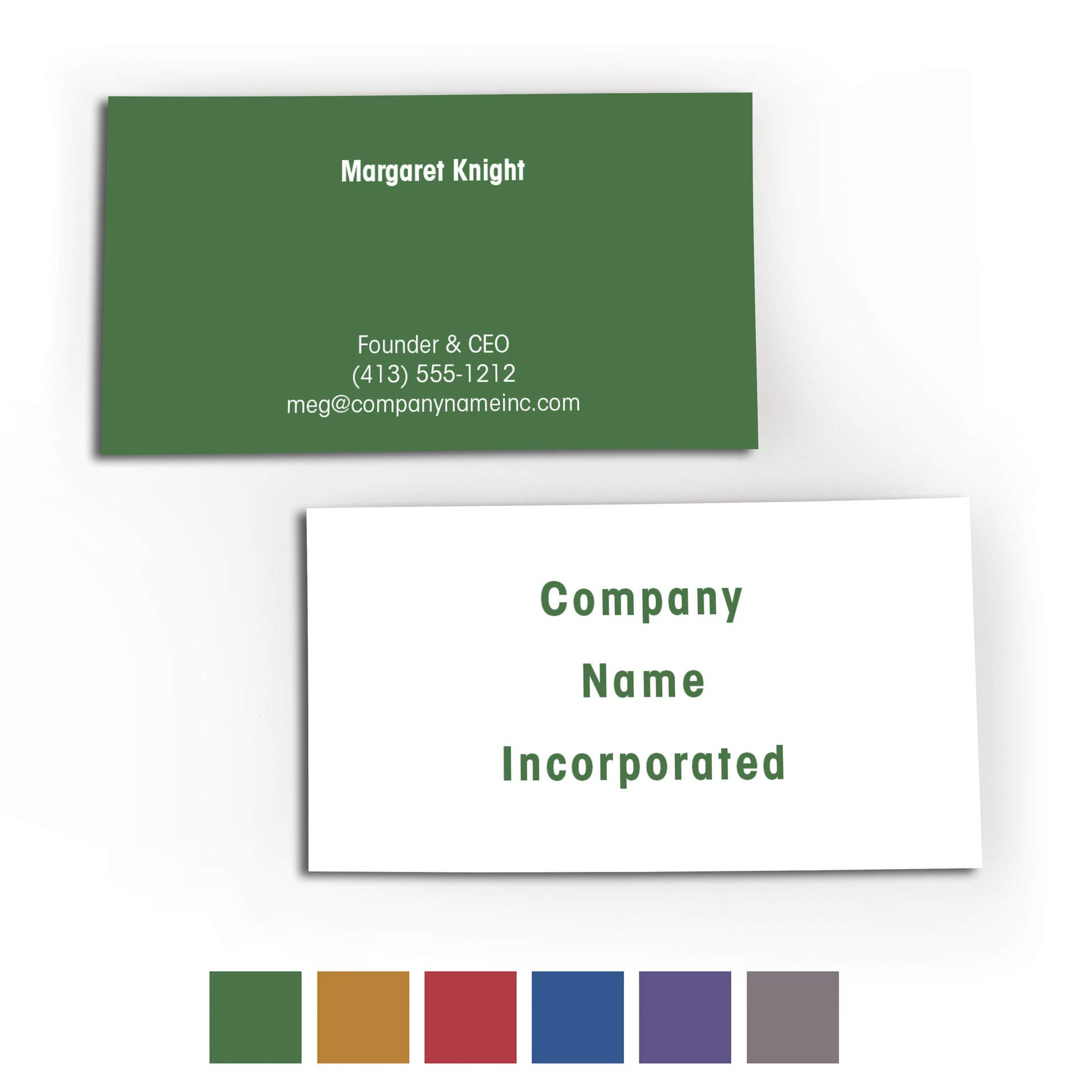 Buttonsmith Custom Premium Printed Business Cards - 3.5''x2'' - Quantity 500 - Double-Sided, 110 lb Smooth Touch - Green - Made in The USA by Buttonsmith