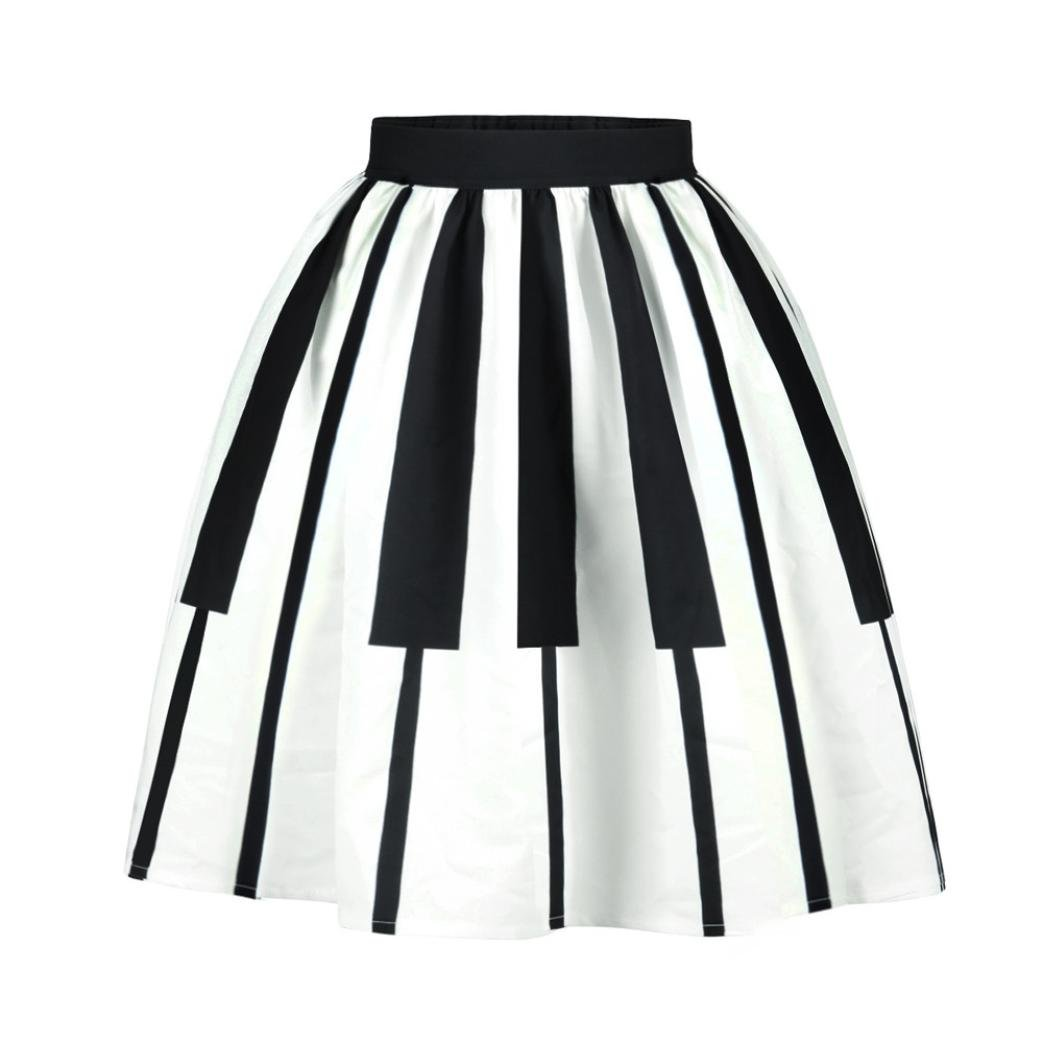 Corsion Trendy Women's High Waisted Striped Piano Keys Casual A-Line Dress