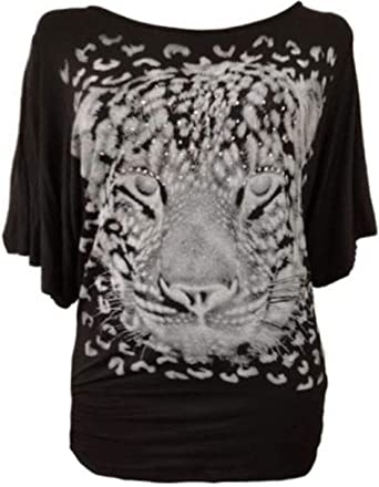 Womens Batwing Ladies Top Leopard Animal Long Sleeve Tunic Nouvelle Plus Size