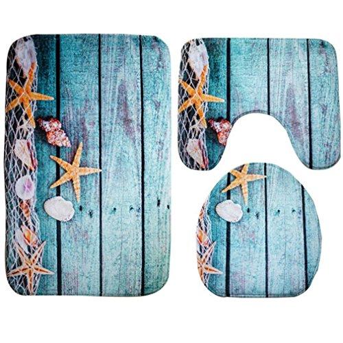 - GBSELL 3pcs/set Bathroom Non-Slip Blue Ocean Style Pedestal Rug + Lid Toilet Cover + Bath Mat (A)