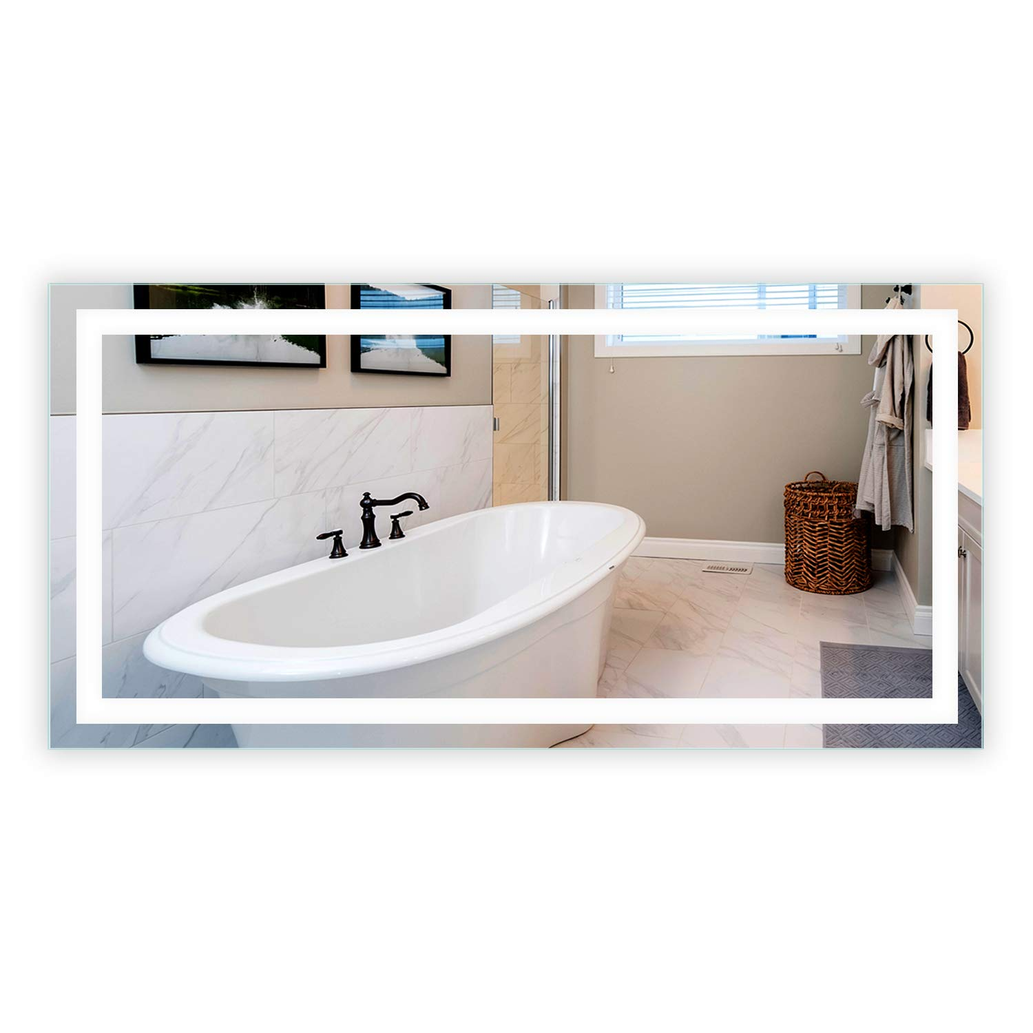LED Front-Lighted Bathroom Vanity Mirror: 72'' Wide x 36'' Tall - Commercial Grade - Rectangular - Wall-Mounted by Mirrors and Marble