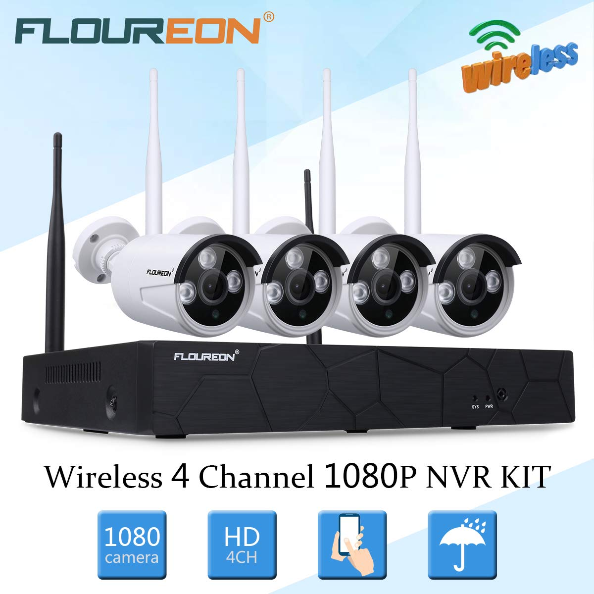 Wireless Security Cameras System, FLOUREON 4CH 1080P HD WiFi NVR and 4pcs 60FT Night Vision 2.0MP 1080P Indoor Outdoor Wireless CCTV Cameras, AUTO-Pair, Smartphone Remote Access NO Hard Drive
