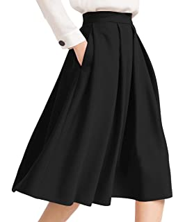 3eb33a80d Tandisk Women's Vintage A-line Printed Pleated Flared Midi Skirts ...