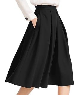 d22c432cd Urban CoCo Women's Flared A line Pocket Skirt High Waist Pleated ...