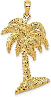 14K Solid Yellow Gold Men Women Children Palm Tree Charm Pendant.
