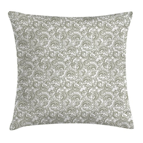 Ambesonne Floral Throw Pillow Cushion Cover, Traditional Ethnic Damask with Classic Effects Artful Ornate Pattern Print, Decorative Square Accent Pillow Case, 18 X 18 Inches, Reseda Green White