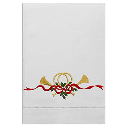 Té de baño para invitados toalla de mano blanco puro lino con cuerno de Navidad y