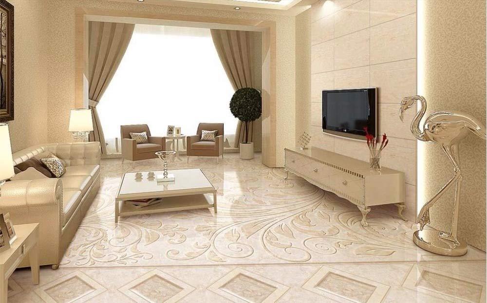 BZDHWWH 3D Flooring Stone Pattern Jade Parquet Wallpaper 3D Stereoscopic 3D Floor Painting Bathroom PVC Self Adhesive Wallpaper,110Cm X 160Cm