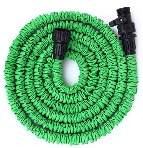 Gardees tm 100 feet expandable garden hose 8 function spray nozzle and shut off valve Expandable garden hose 100 ft