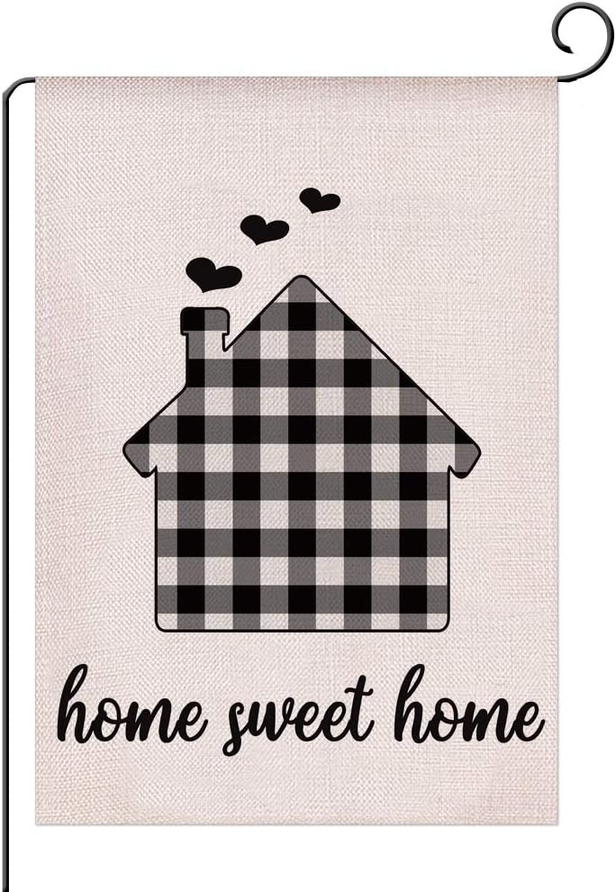 winnieindustries Home Sweet Home Garden Flag Vertical Double Sided 12.5 x 18 Inch,Welcome to Home Yard Flag - Black and White Buffalo Check Plaid Spring Summer Burlap Yard Outdoor Décor