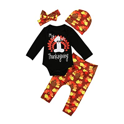 4ce59407bab5c Miward Thanksgiving Outfit Newborn Baby Boy Girl Letter Print Romper Turkey  Print Pant Hat Headband 4pcs Clothes Set