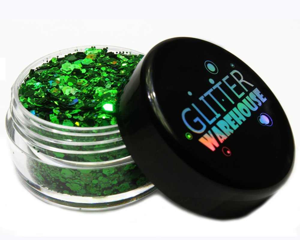 Green Holographic Chunky Glitter ❤ GLITTERWAREHOUSE COSMETIC GLITTER ❤ Loose Glitter Powder for Festival Beauty Makeup Face Body Hair Nails Eyes Lips (20g Jar)