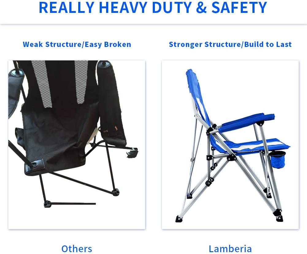 Lamberia Folding Camping Chair Heavy Duty Support 300 lbs Outdoor Mesh Back Quad Chair with Arm Rest Cup Holder and Portable Carrying Bag