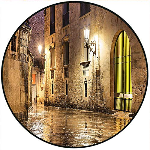 Short Plush Round Rug Gothic Ancient Stone Quarter of Barcelona Spain Renaissance Heritage Gothic Night Street Cream Living Room Coffee Table 31.5