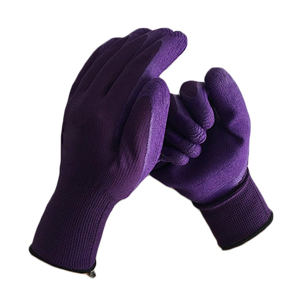 LIN-rlp Work Gloves Knit Wrist Breathable Gardening Gloves Nylon Latex Wrinkle Coated Industrial Gloves Protective Wear Resistant Slip(Purple,12 Pairs Per Pack) by LIN-rlp