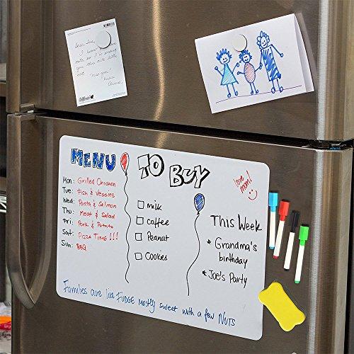 Magnetic White Board for Fridge, Dry Erase Reminder Board, Magnetic Whiteboard for Refrigerator, Kitchen Whiteboard 4 Bonus Markers by SENCHEN