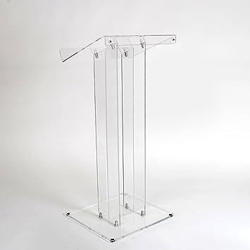 Luminati Acrílico Transparente Atril de presentación - con diseño de Elegante diseño de Iglesia/escuelas, Transparente, Without Shelf Without Fascia Panel: ...
