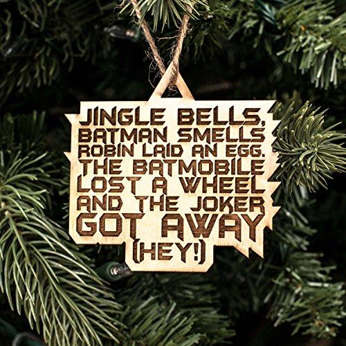 Ornament - Jingle Bells Batman Smells - Raw Wood 3x3in