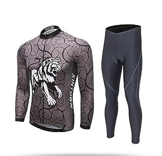 Completo Ciclismo Uomo Set, Maglia Ciclismo Maniche Lunghe + Pantaloni Lunghi MTB Sportivo Professionale Gel Pad Traspiranti e ad Asciugatura Rapida Primavera/Estate/Autunno