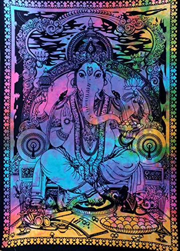 ICC New Ganesha Trippy Poster Tapestry Decoration Wall Decor Hanging Art Gift Tapestry Psychedelic Wall Hanging Hippie Hippy Dorm Decor Bohemian College Dorm (Multi)