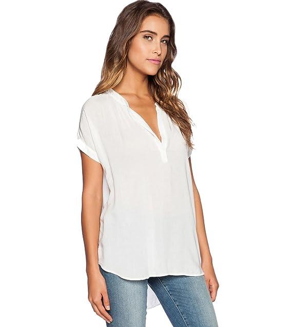 92d895c6f77a8 Blusas de Vestir Manga Corta Cuello en V Blusa Gasa Fiesta Camisas Mujer  Camisetas Largas Elegantes
