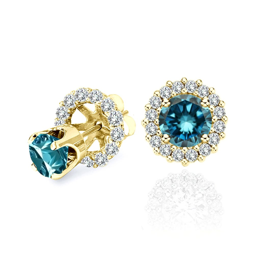 1.00 Carat Blue Diamond Flower Solitaire Stud Women Pair Earrings With Halo Jackets 14K Yellow Gold