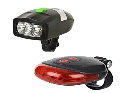 BabyGo Bicycle 3 LED 3 Mode Front Light  amp; Horn  amp; 2 Laser Beams Tail Light Combo Lights   Reflectors
