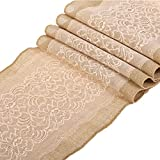 Ling's moment 12x108 Inch Burlap Table Runner with Nude Lace Farmhouse Decoration, Country Vintage Wedding Decoration, Birdal & Baby Shower, Spring Wedding Table Runner