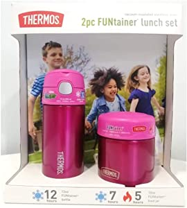 Thermos FUNtainer Lunch Set Bottle and Food Jar for Kids BPA Free Dishwasher Safe, 2 PC (Pink, 2 PC Set)