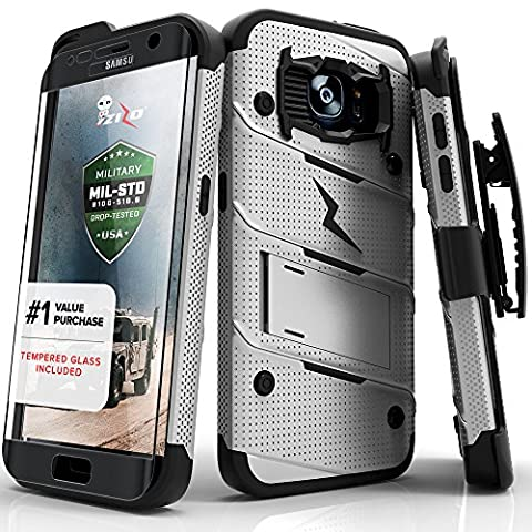 Galaxy S7 Edge 5.5in Case, Zizo Bolt Cover [Dual-Layered] Slim Armor [Military Grade Certified] Kickstand Holster Belt Clip (Military Cell Phone Covers)