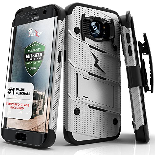 Galaxy S7 Edge 5.5in Case, Zizo Bolt Cover [Dual-Layered] Slim Armor [Military Grade Certified] Kickstand Holster Belt Clip Lanyard