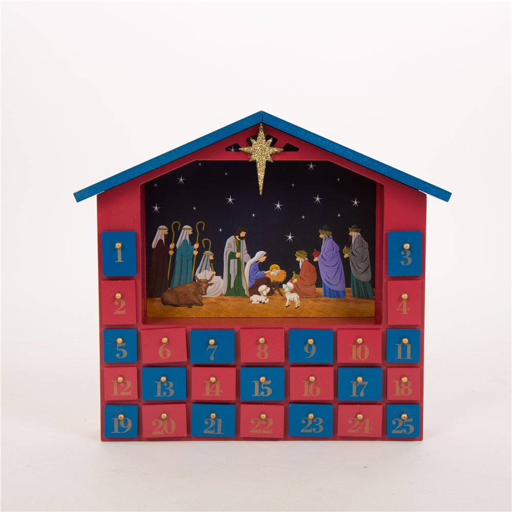 Glitzhome Handcrafted Wooden House Count Down Advent Calendar with Drawer