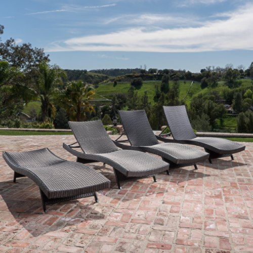 Outdoor Wicker Chaise Lounge Chair by Lakeport Patio Furniture – Rust-Proof Aluminum Frame, Elegant & Modern No-Arm Danish Wave Design, Mixed Mocha Weave, 4 pack